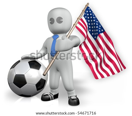 An USA football fan with a ball and a flag - stock photo