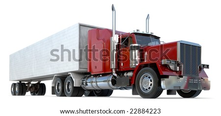 An 18 wheeler Semi-Truck on white. - stock photo