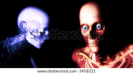 An x ray image of a some men in which you can see the Skelton under the skin. - stock photo