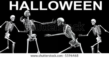 An x ray image of skeletons. A suitable medical or Halloween based image. - stock photo