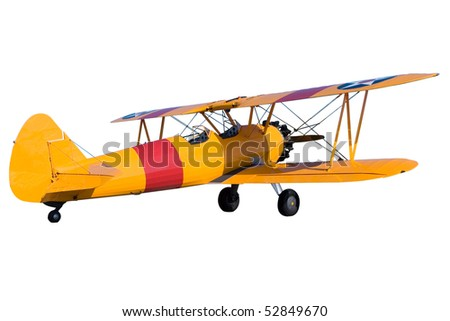 An yellow bi plane isolated on white - stock photo