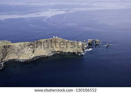 Anacapa Island Scenic Aerial View Southern California - stock photo