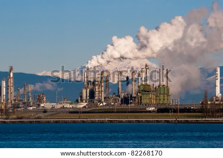 anacortes washington refinery smoke blocking mount baker - stock photo