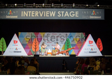Anaheim, CA - June 23: Arden Rose (L) answers questions on the People Entertainment Stage at the 7th annual VidCon conference at the Anaheim Convention Center in Anaheim, California on June 23, 2016