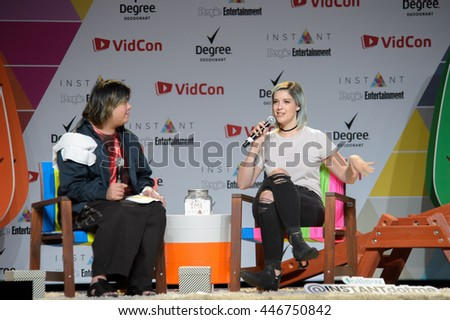 Anaheim, CA - June 23: Catherine Valdes(R) known as Catrific is interviewed on the People Entertainment stage at 7th annual VidCon at the Anaheim Conv Center in Anaheim, California on June 23, 2016