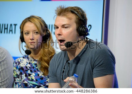 Anaheim, CA - June 25: Internet personalities Taryn Southern (L) and Steve Greene answer questions a Vidcon 2016 conference at the Anaheim Convention Center in Anaheim, California on June 23, 2016