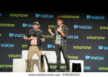 Anaheim, CA - June 24: (LR) Ian Hecox and Anthony Padilla perform at VidCon 2016 at the Anaheim Convention Center in Anaheim, California on June 23, 2016