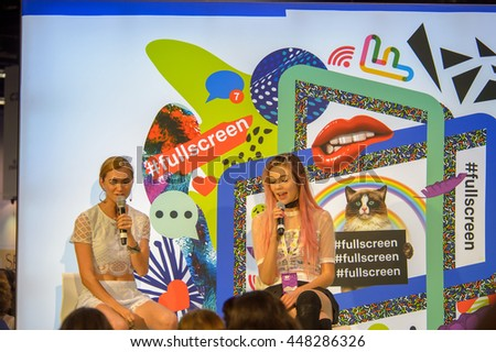 Anaheim, CA - June 24: (LR) Jessie Paege and Alyson Stoner from Girls Night In answer fans questions at Vidcon 2016 conference at the Anaheim Convention Center in Anaheim, California on June 23, 2016