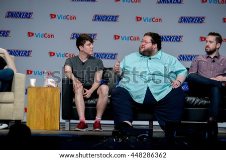 Anaheim, CA - June 24: (LR) Mynameschai, Boogie2988 and Tim Gettys at the 7th annual VidCon conference at the Anaheim Convention Center in Anaheim, California on June 23, 2016