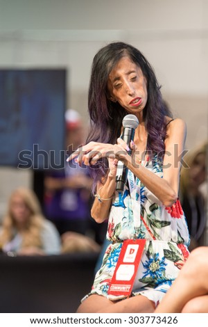 Anaheim, CA - June 23: Motivational speaker Lizzie Velasquez speaks at VidCon 2015 at the Anaheim Convention Center in Anaheim, California on June 23, 2015 - stock photo