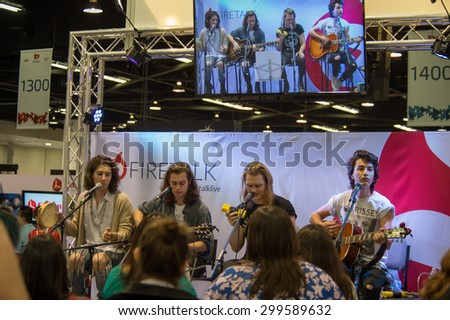 Anaheim, CA - June 23: The Ceremonies perform at the 6th annual VidCon conference at the Anaheim Convention Center in Anaheim, California on June 23, 2015 - stock photo