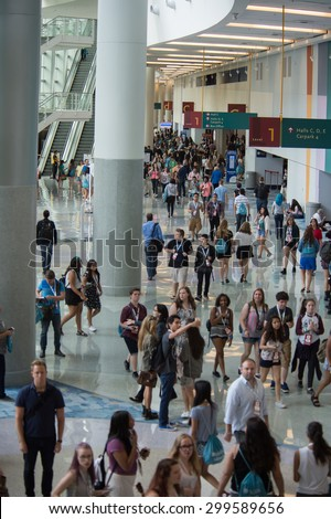 Anaheim, CA - June 23: The 6th annual VidCon conference for YouTube creators, industry experts and fans at the Anaheim Convention Center in Anaheim, California on June 23, 2015 - stock photo