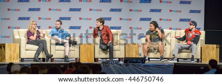 Anaheim, CA - June 23: YouTube Gaming discussion with (LR) Ashley Equeda, Tim Gettys, MatPat, The Black Hokage and DJ Cutman at VidCon at Anaheim Conv Center in Anaheim, California on June 23, 2016