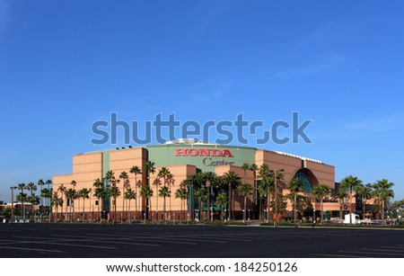ANAHEIM, CA - MARCH 16: The Honda Center located in Anaheim, California on March 16, 2014. The multipurpose arena is home to the Anaheim Ducks of the National Hockey League. - stock photo