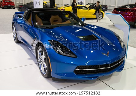 ANAHEIM, CA - OCTOBER 3: A Chevrolet Corvette on display at the Orange County International Auto Show in Anaheim, CA on October 3, 2013. - stock photo