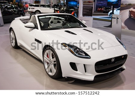 ANAHEIM, CA - OCTOBER 3: A Jaguar F-Type convertible on display at the Orange County International Auto Show in Anaheim, CA on October 3, 2013. - stock photo