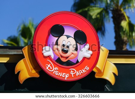 ANAHEIM, CA/USA - OCTOBER 10, 2015: Mickey Mouse on sign at Downtown Disney. Downtown Disney is the name of an outdoor shopping, dining, and entertainment complex next to Disneyland. - stock photo