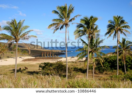 Anakena Beach with Ahu Nau Nau on Easter Island - stock photo
