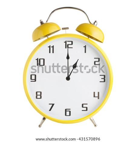 Analog alarm clock showing one o'clock isolated on white background - stock photo