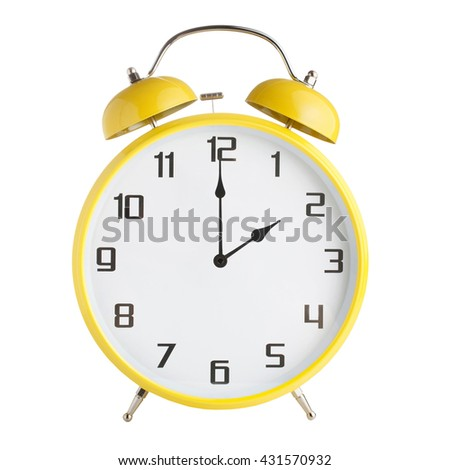Analog alarm clock showing two o'clock isolated on white background - stock photo