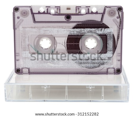 Analog audio cassette with box isolated on white background - stock photo