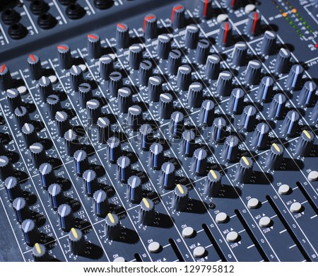 Analog audio mixing board