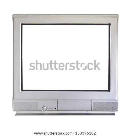 Analog cathode ray tube television on white background. - stock photo