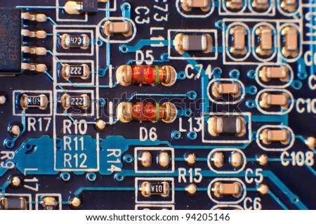 Analog circuit board part closeup - stock photo