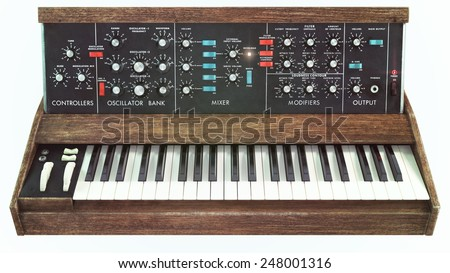 Analog classic synthesizer front view - stock photo