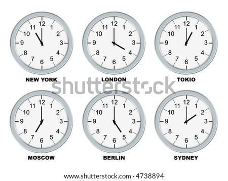 Analog clocks isolated on a white background - stock photo