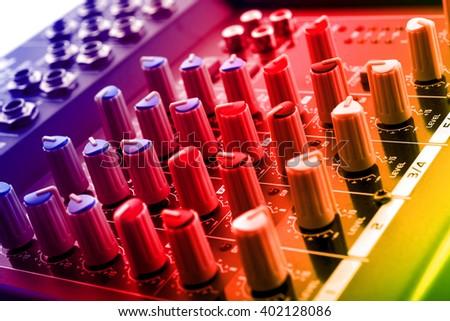 analog dj mixing console - stock photo