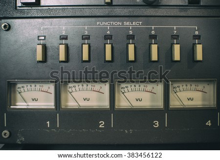 Analog recorder channel meters - stock photo