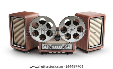 Analog recorder reel to reel. vintage wooden case. isolated on white background High resolution 3d  - stock photo
