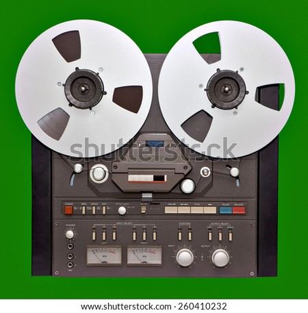 Analog Stereo Open Reel Tape deck - stock photo