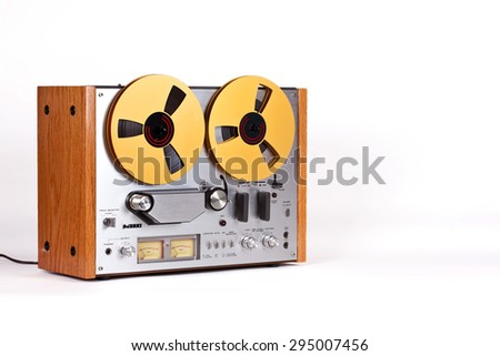 Analog Stereo Open Reel Tape Deck Recorder Player - stock photo