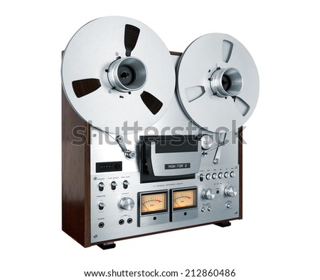 Analog Stereo Open Reel Tape Deck Recorder Vintage Closeup Isolated - stock photo