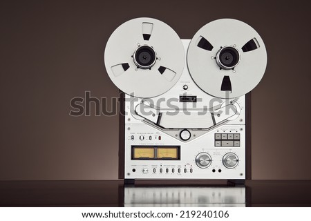 Analog Stereo Open Reel Tape Deck Recorder Vintage Detailed Closeup - stock photo