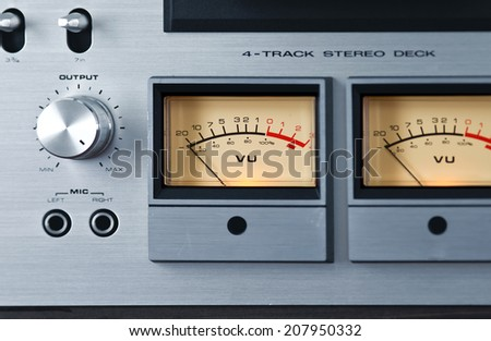 Analog Stereo Open Reel Tape Deck Recorder VU Meter Device - stock photo