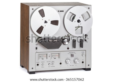 Analog Stereo Reel Tape Deck Recorder Player over white - stock photo