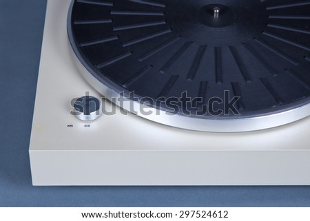 Analog Stereo Turntable Vinyl Record Player Closeup - stock photo