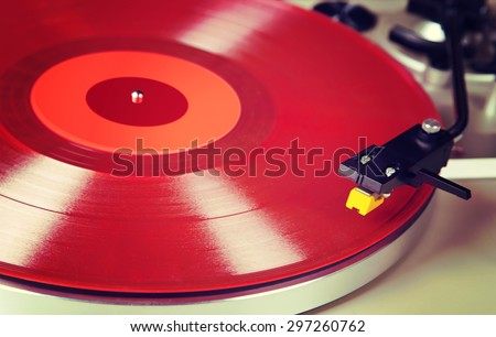 Analog Stereo Turntable Vinyl Red Record Player Headshell Cartridge - stock photo
