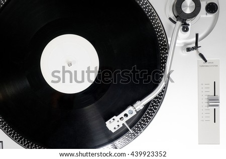 Analog Stereo Turntable White Vinyl Record Player white Head shell Cartridge - stock photo