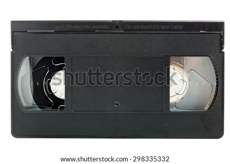 Analog video home system (VHS) tape isolated on white background - stock photo