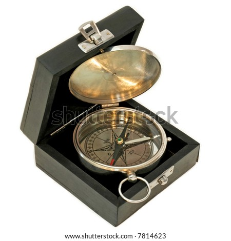 Analogue silver metal compass in the box - stock photo