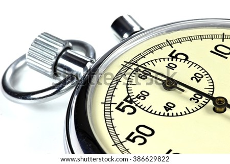 analogue stopwatch against white background - stock photo
