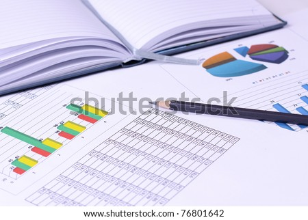 Analysis of business graphs - stock photo