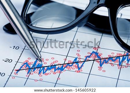 Analysis of chart - stock photo