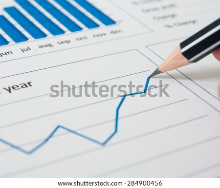 Analysis of data from line graphs.  select  focus. - stock photo