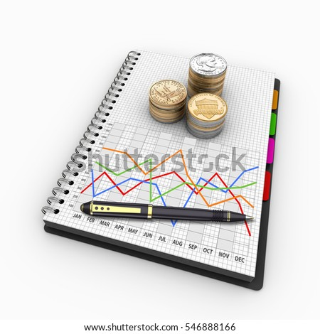 Analysis of financial data in charts, accounting, taxes, banking, statistics, vision for the future 3D Illustration.