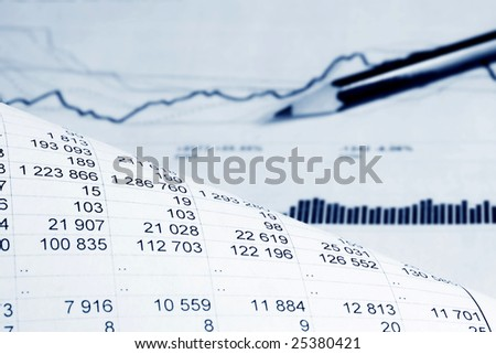 Analysis of financial information. - stock photo